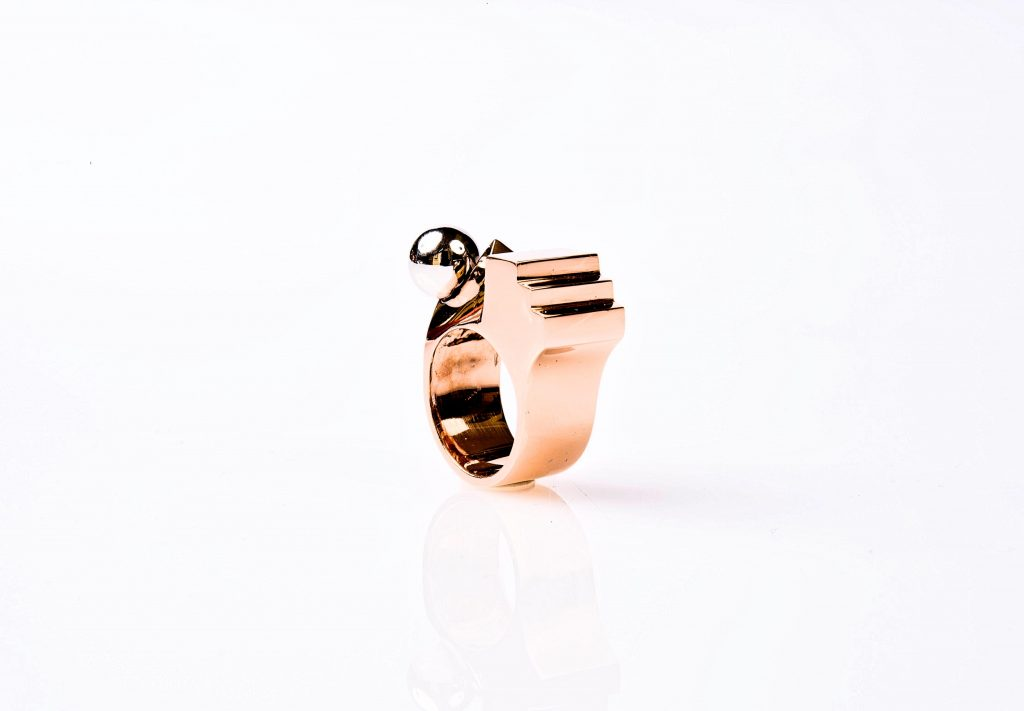 Rhodium Kugel Ring