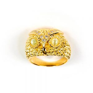 Yellow Gold, Diamond & Chrysoberyl Owl Ring by Knauf Jewels