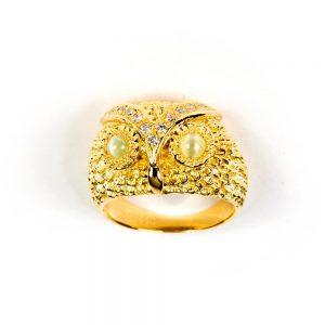 Goldener Eulenring, Diamanten & Chrysoberyl