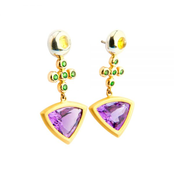 Amethyst, Tsavorite, Yellow Sapphire & Yellow Gold Cocktail Earrings