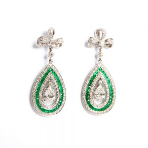 White Gold, Emerald & Diamond Drop Earrings