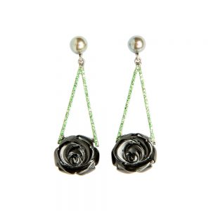 Onyx, Pearl, Tsavorite & White Gold Rose Drop Earrings