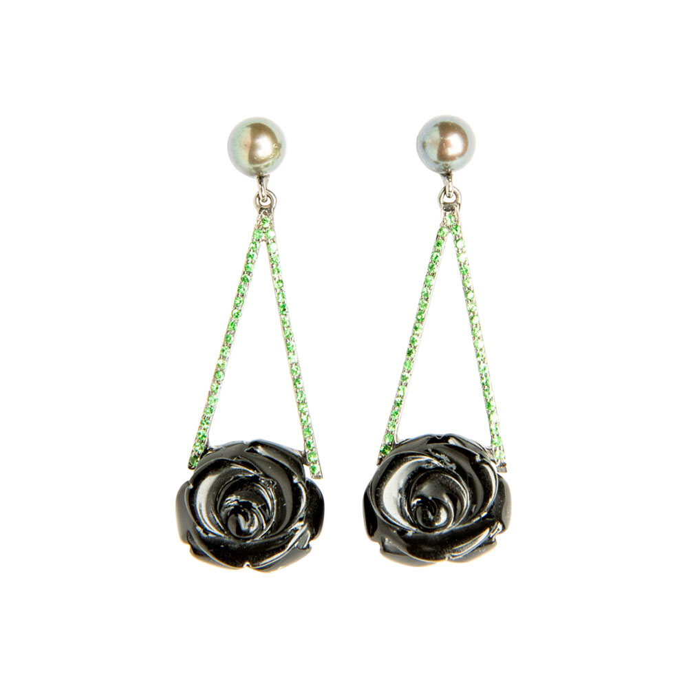 Onyx, Pearl, Tsavorite & White Gold Rose Drop Earrings