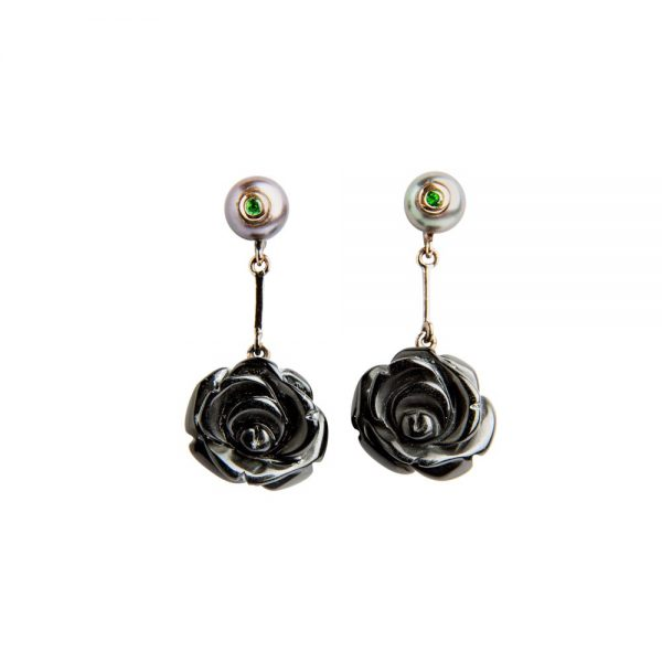 Onyx, Ruby and Pearl Rose Drop Earrings