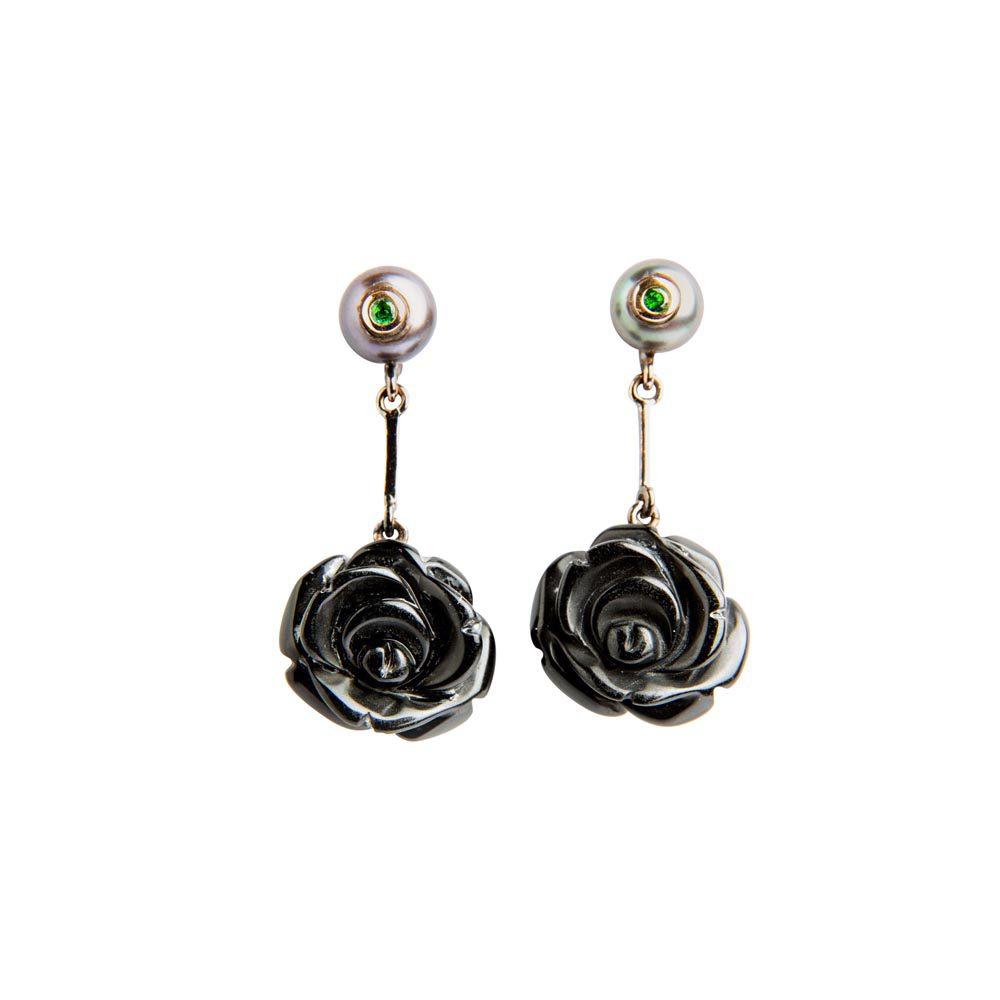 Onyx, Ruby and Pearl Rose Drop Earrings