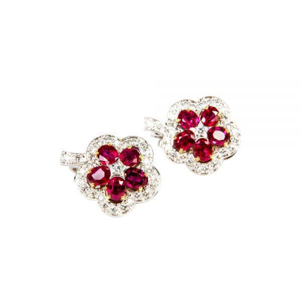 White Gold, Ruby and Diamond Flower Stud Earrings