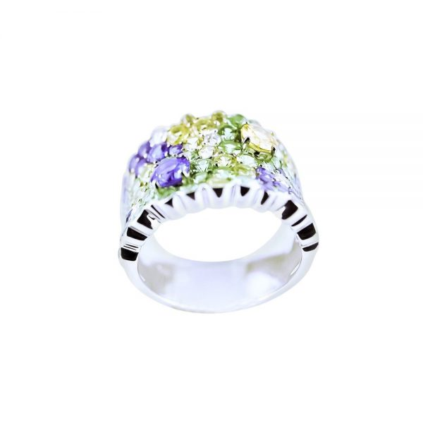 White Gold Cluster Ring with Blue Diamonds, Yellow Sapphire & Tsavorites