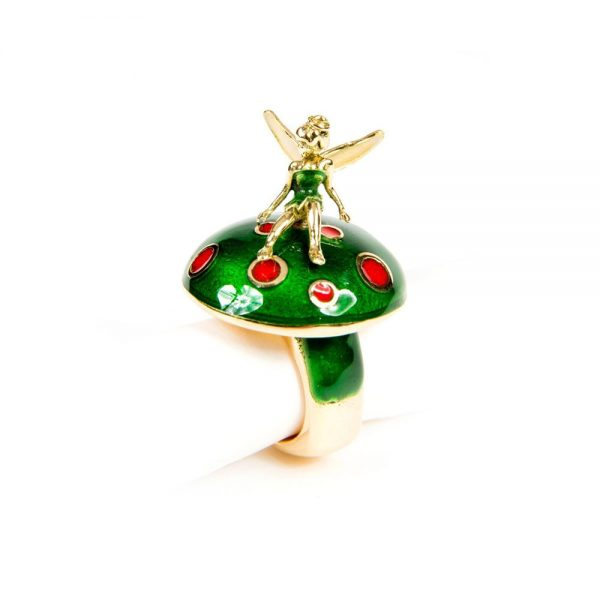 Green Enamel & Yellow Gold Fairy Cocktail Ring