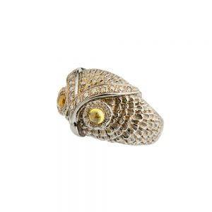 Silver, Diamond and Citrine Cabochon Band Owl Ring