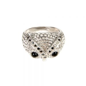Silver, Black Diamond and Onyx Owl Ring