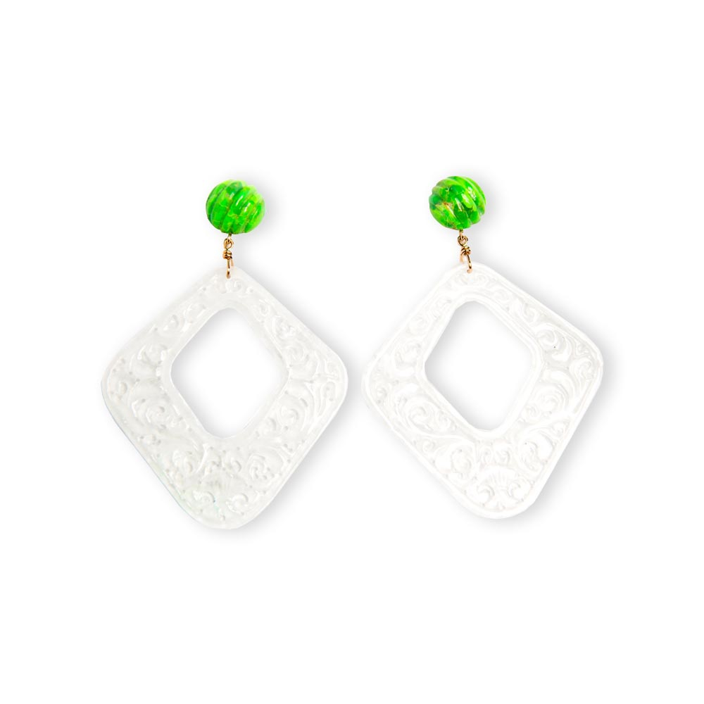 Grade A White Jade, Green Turquoise & Yellow Gold Earrings