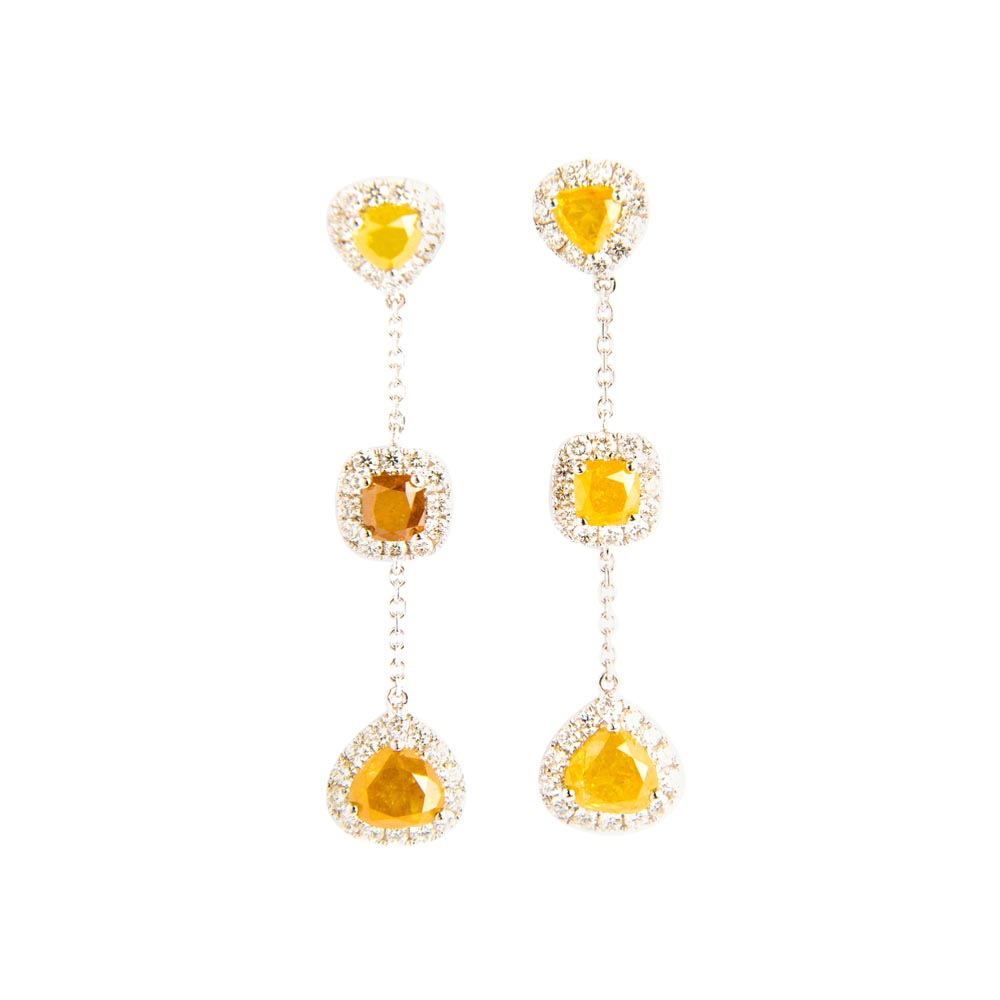 White, Yellow and Brown Diamond Set White Gold Drop Earrings