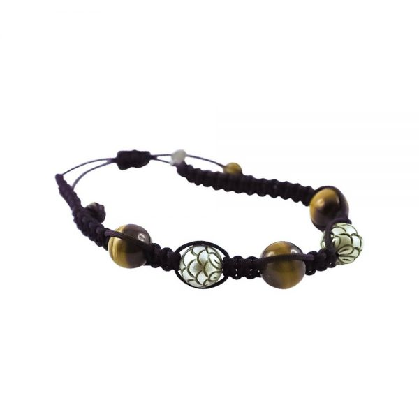 Tahiti Pearl, Tigers Eye & White Gold Beaded Bracelet