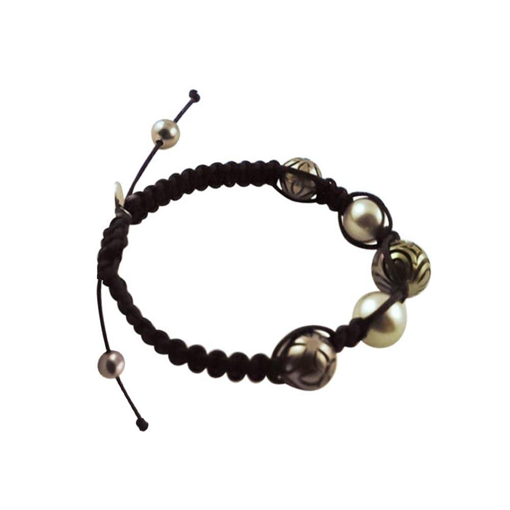 Tahiti Pearl & White Gold Beaded Drawstring Bracelet