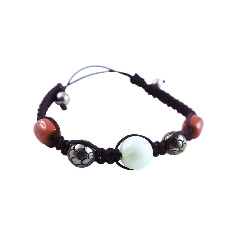 Tahiti Pearl, Jade, Coral & White Gold Beaded Drawstring Bracelet