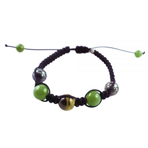 Tahiti Pearls, Tiger Eye and Green Nephrite White Gold Bracelet