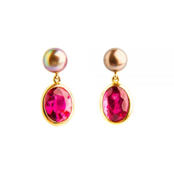 Yellow Gold, Rubellite, Tourmaline & Tahiti Pearl Drop Earrings