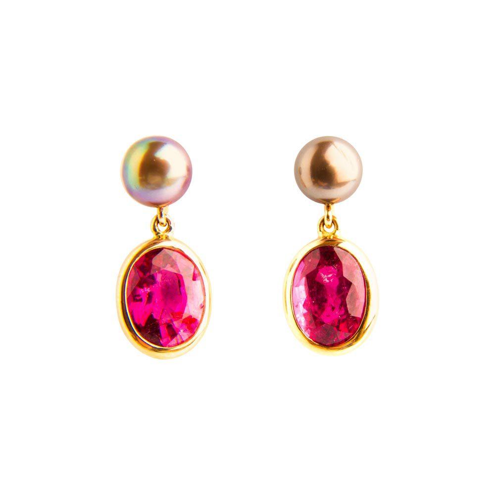 Yellow Gold, Rubellite, Tourmaline & Tahiti Pearl Drop Earrings