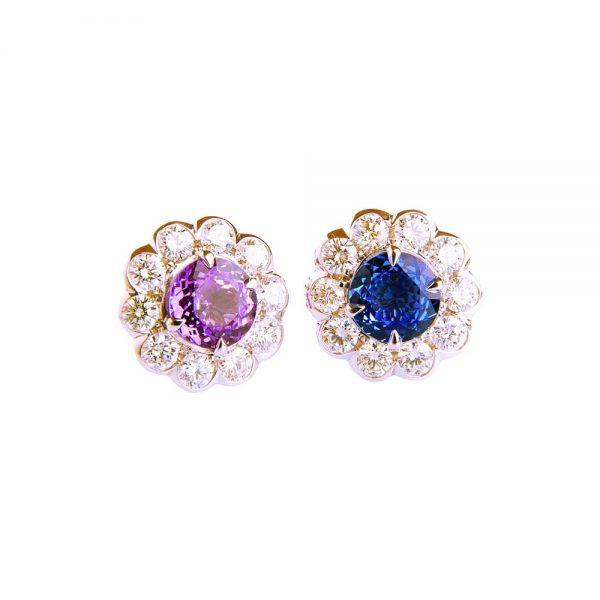 White Gold, Sapphire & Diamond Flower Stud Earrings