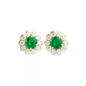 White Gold, Emerald & Diamond Flower Stud Earrings