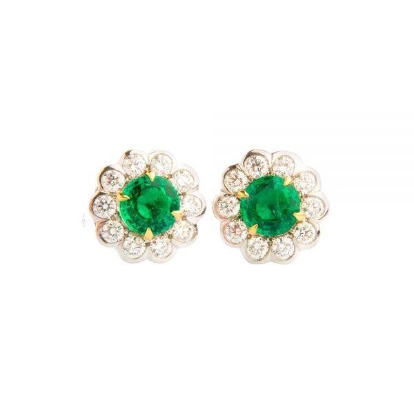 White Gold, Emerald & Diamond Flower Stud Earrings