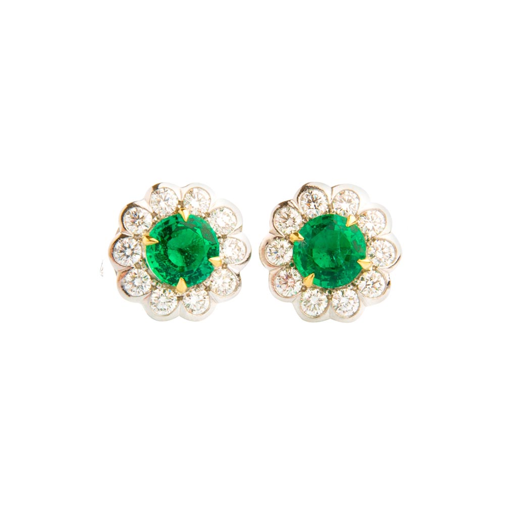 White Gold Emerald And Diamond Flower Shaped Earrings