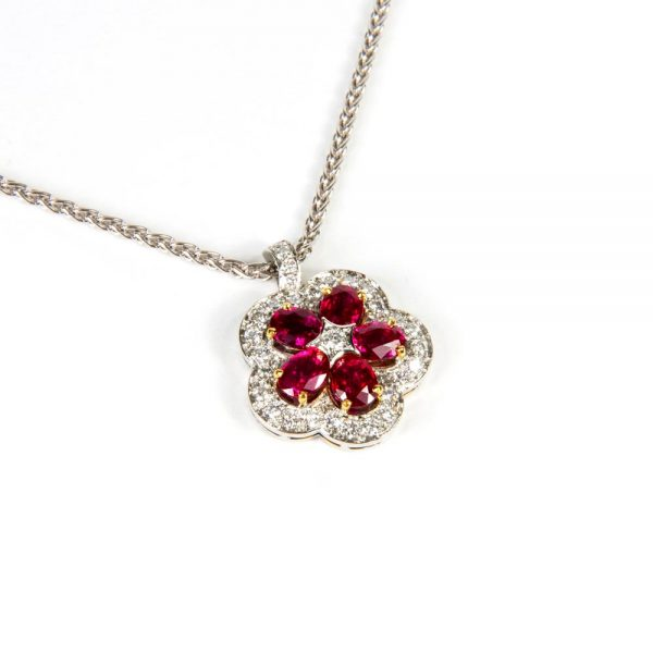 White Gold, Ruby & Diamond Flower Pendant Necklace