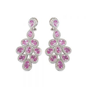 Pink Sapphire and Diamond White Gold Dangle Earrings