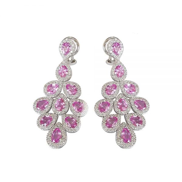 White Gold, Diamond & Pink Sapphire Drop Earrings