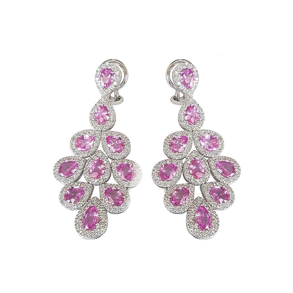 White Gold, Diamond & Pink Sapphire Drop Earrings