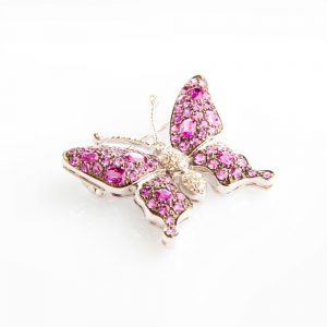 White Gold, Pink Sapphire & Rubellite Butterfly Brooch