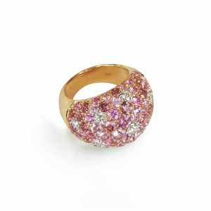 Diamond and Pink Sapphires with Tourmaline in Yellow Gold Ring