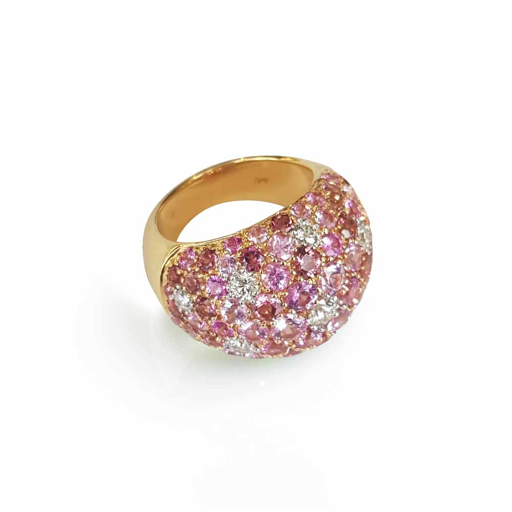Yellow Gold Ring with Diamond, Pink Sapphires & Tourmalines