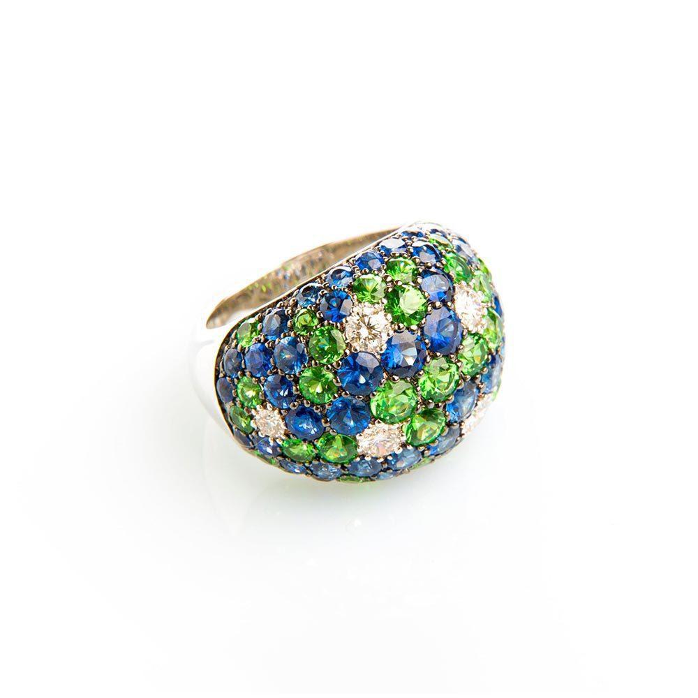 Diamond, Sapphire, Tsavorite & White Gold Dome Ring
