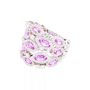 Diamond, Pink Sapphire & White Gold Cocktail Ring