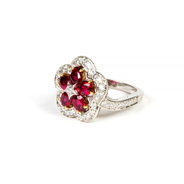 White Gold, Ruby & Diamond Cluster Cocktail Ring