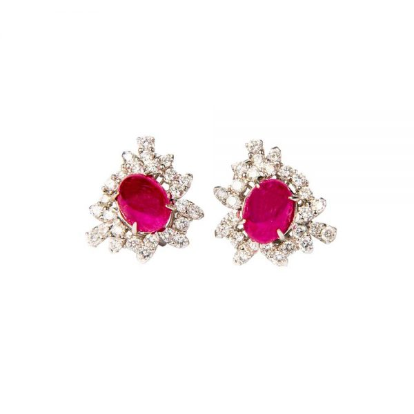 Ruby, Diamond & White Gold Halo Cluster Earrings