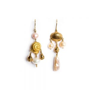Pearls Shells Yellow Gold Dangle Drop Earrings