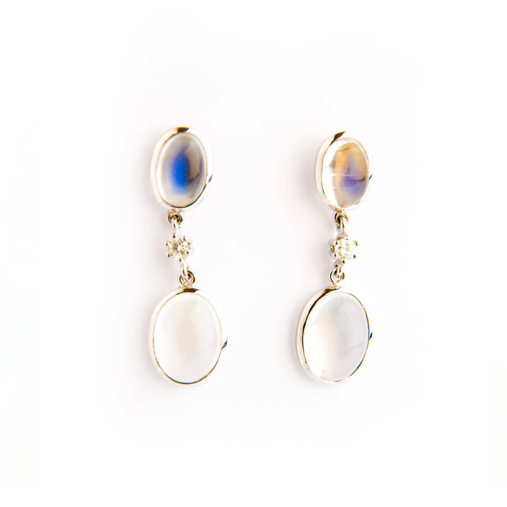White Gold & Moonstone Diamond Drop Earrings