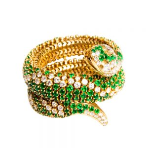 18ct Yellow Gold, Diamond & Emerald Sea Snake Bangle