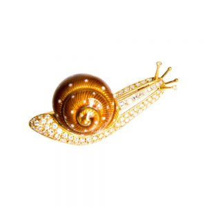 Yellow Gold, Diamond & Enamel Snail Brooch