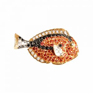 Red Gold, Diamond & Orange Sapphire Little Fish Brooch