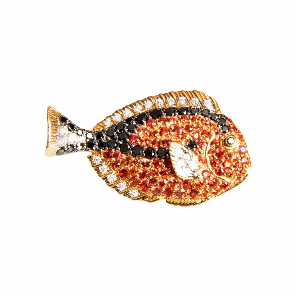 Red Gold, Diamond & Orange Sapphire Little Fish Brooch