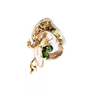 Elfen-Brosche, Weißgold, Smaragd, Perle & Diamanten