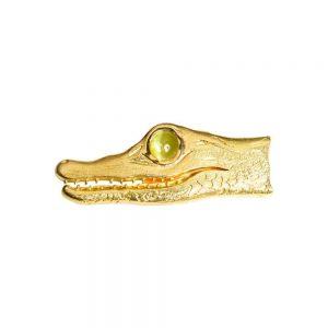 18ct Yellow Gold & Chrysoberyl Crocodile Brooch