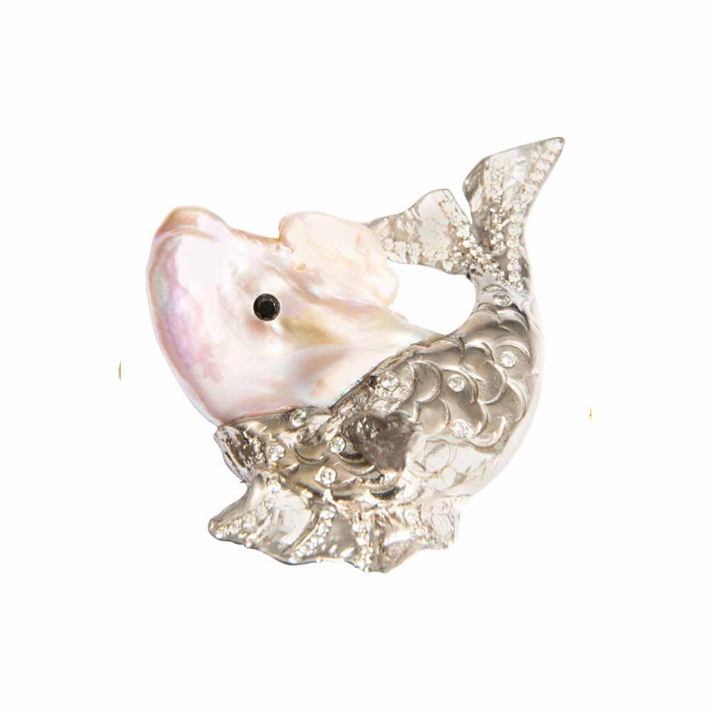 18ct White Gold & Pearl Big Fish Brooch