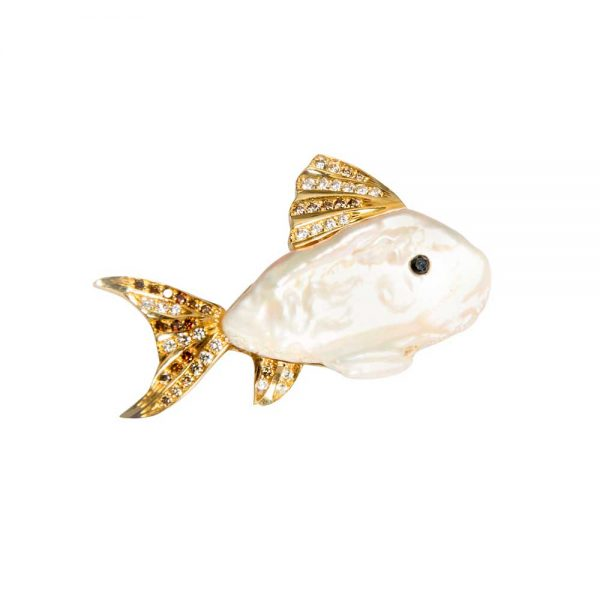 18ct Yellow Gold & Cultured Pearl Fish Brooch