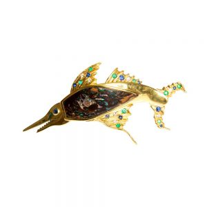 Yellow Gold, Opal, Sapphires, Emeralds & Diamonds Swordfish Brooch