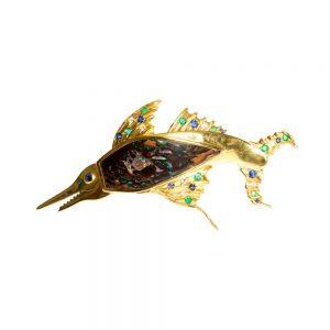 Schwertfisch-Brosche, Opal, Saphire, Smaragde & Diamanten