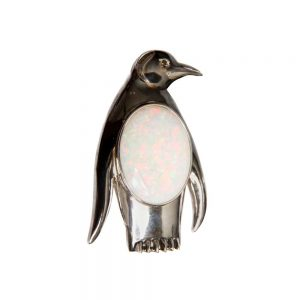 White Gold, White Opal & Diamond Penguin Brooch